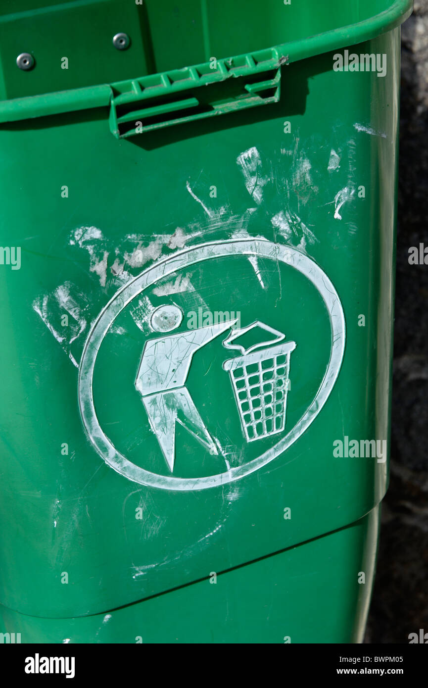 Vandalized public trash can Stock Photo
