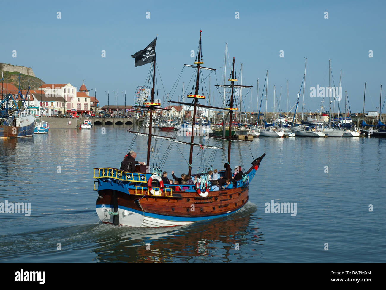 the pirate ship Hispaniola, Scarborough, North Yorkshire, England, UK - Stock Image