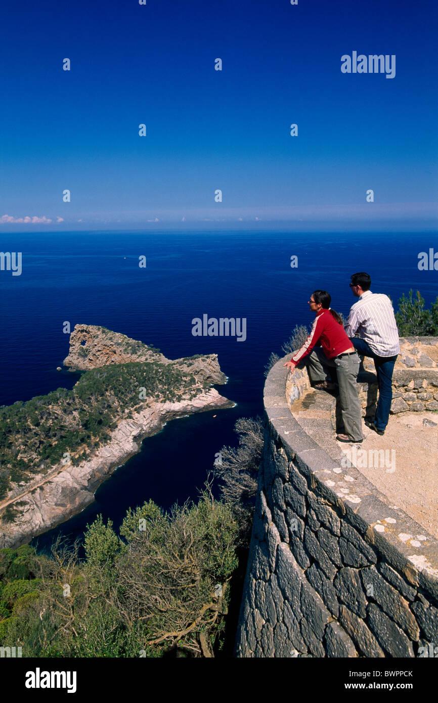 Spain Europe Majorca Sa Foradada Balearic Islands Spain Europe island couple man Frau holiday vacation tr - Stock Image