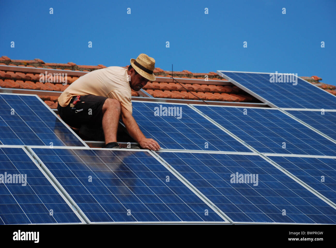 Installation of a solar plant - Stock Image