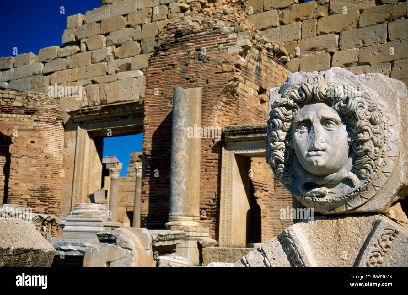 Libya Leptis Magna Ancient roman city Africa North Africa Mediterranean Sea historic history historical ruin - Stock Image