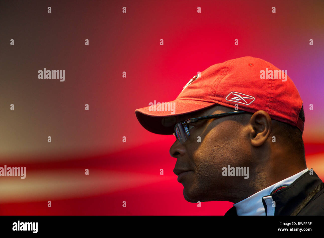Hall of Fame player and current San Francisco 49er head coach Mike Singletary addresses fans during the NFL rally - Stock Image