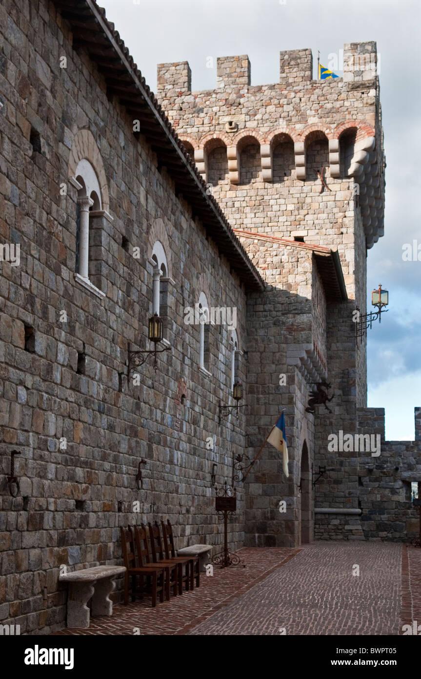 Castello di Amorosa winery in Napa Valley California is a replica of an Italian castle - Stock Image