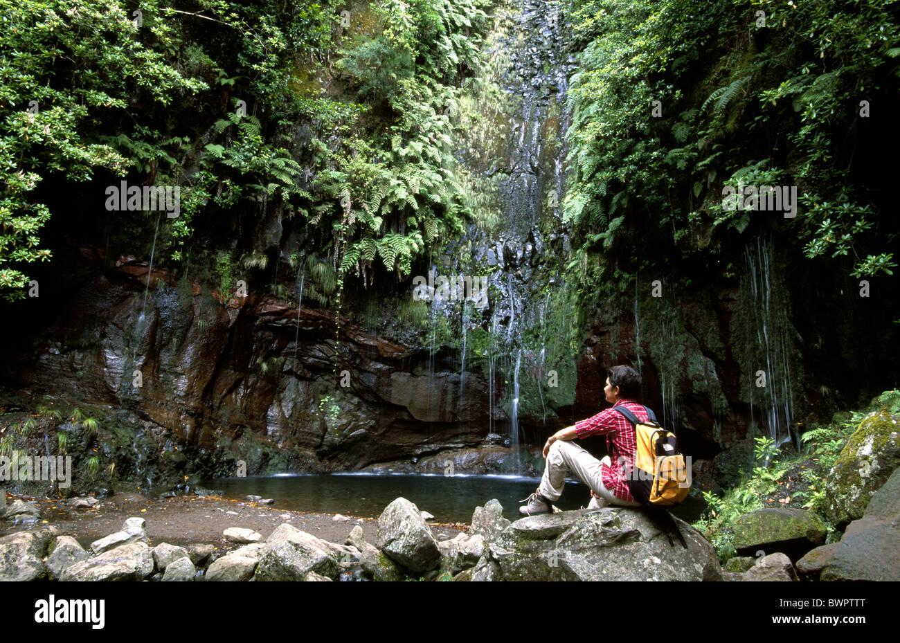 Portugal Europa Europe Madeira hiking Levada das 25 Fontes Rabacal Europe island Atlantic Ocean waterfall w - Stock Image