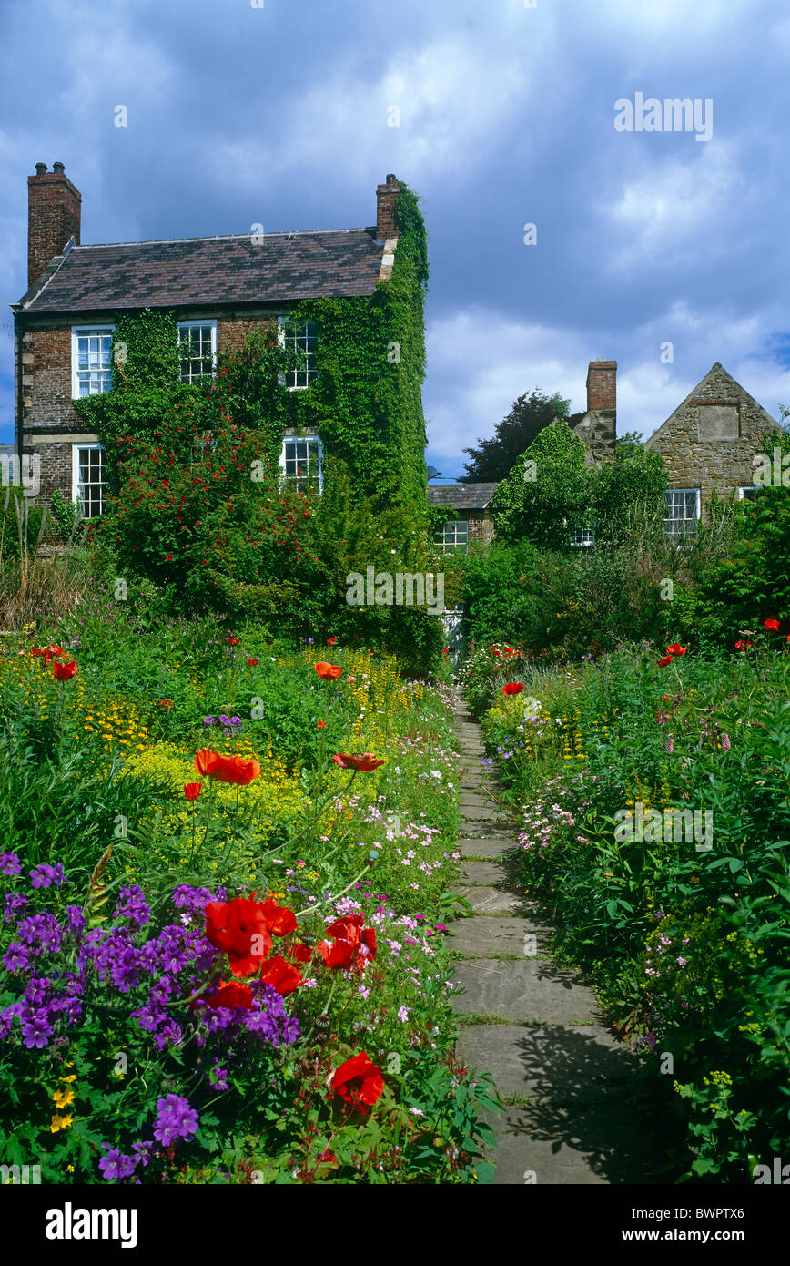 An external view of Crook Hall and Gardens in Springtime, Durham City - Stock Image