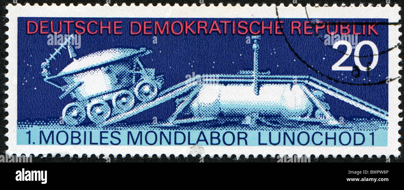 GRD - CIRCA 1971: stamp printed in East Germany shows the soviet moon machine Lunokhod - 1 , circa 1971 - Stock Image