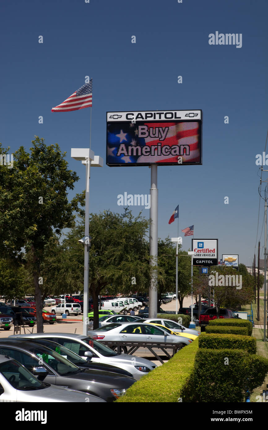 American Flag Flies On Electronic Message Board Flanked By