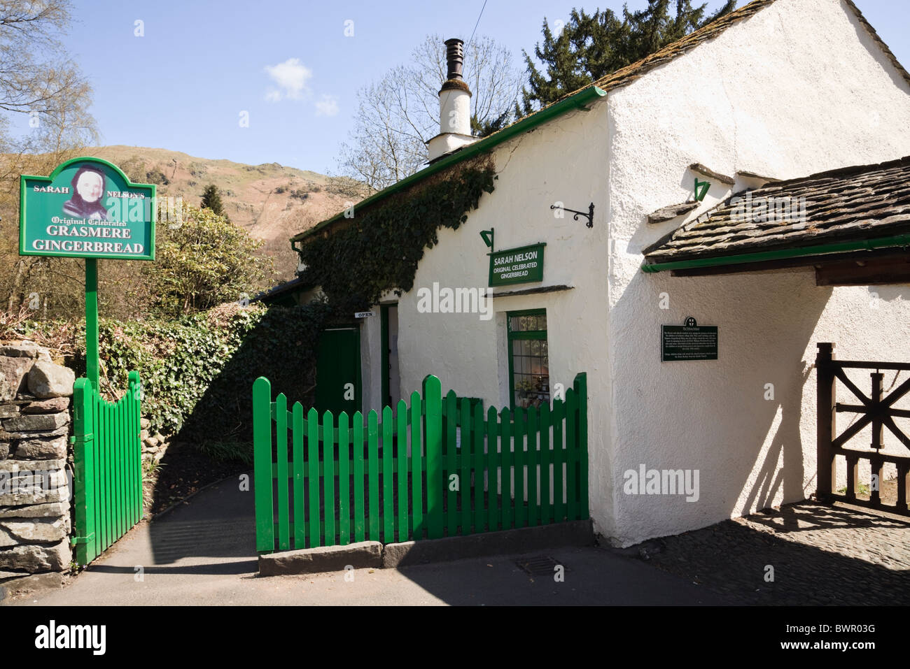 Sarah Nelson's Gingerbread shop in a tiny old school building in Lake District National Park village Grasmere - Stock Image