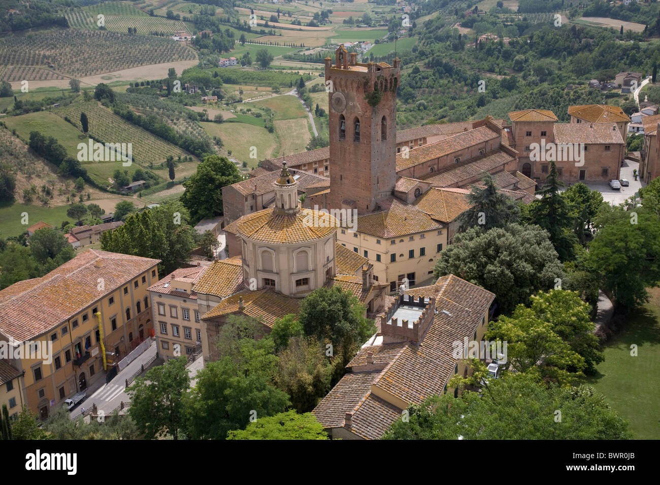 Italy Europe Tuscany Toscana San Miniato View from Tower of Frederick viewpoint medieval mediaeval town San - Stock Image