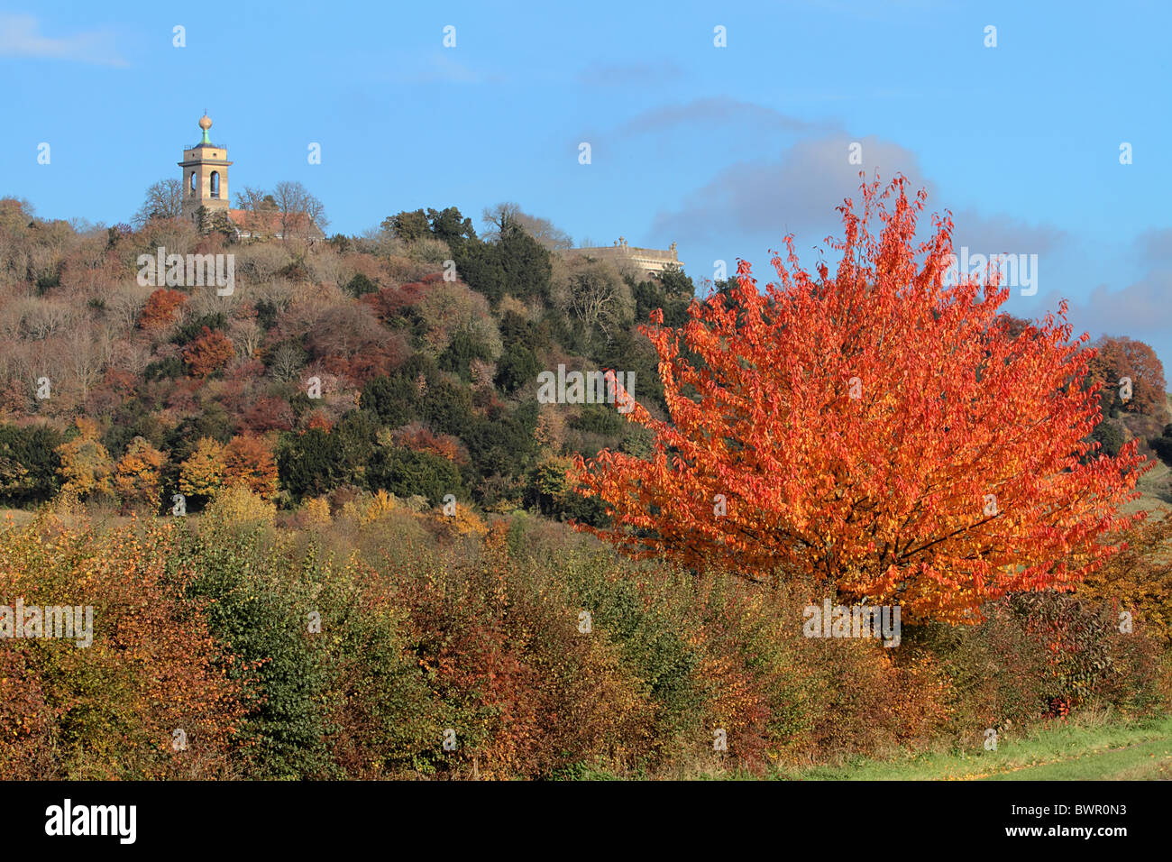 West Wycombe autumn colours church Dashwood Buckinghamshire Chilterns Chiltern - Stock Image