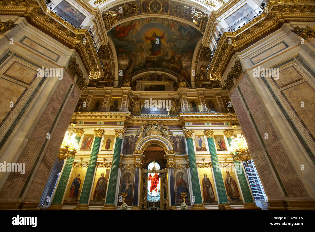 Russia Saint Petersburg Isaac cathedral inside indoors architecture religious religion detail Russian orthodo - Stock Image