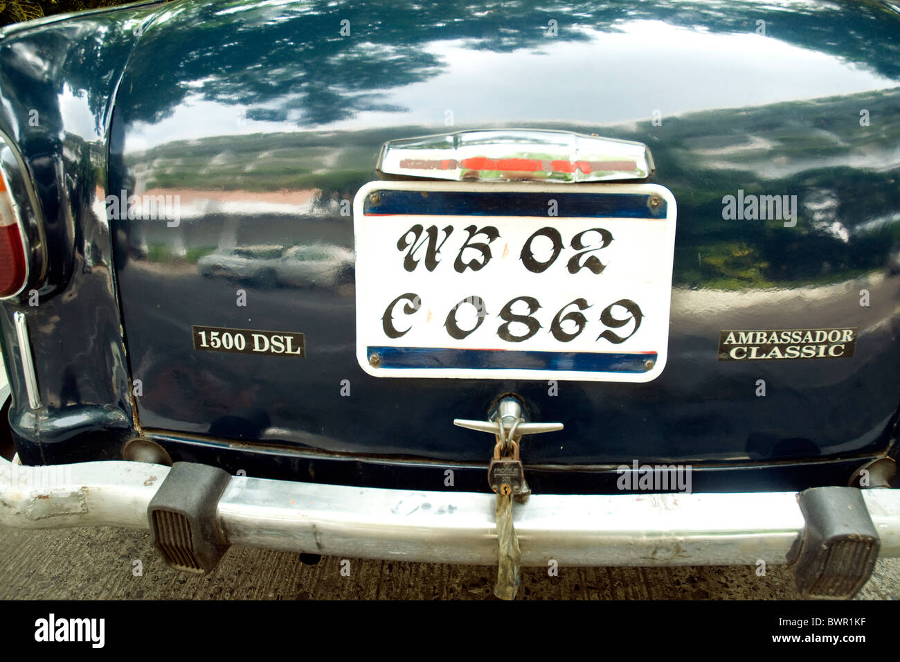 In Kolkata, India, the West Bengal (WB) number plate of the popular Ambassador Classic car--made in India since - Stock Image