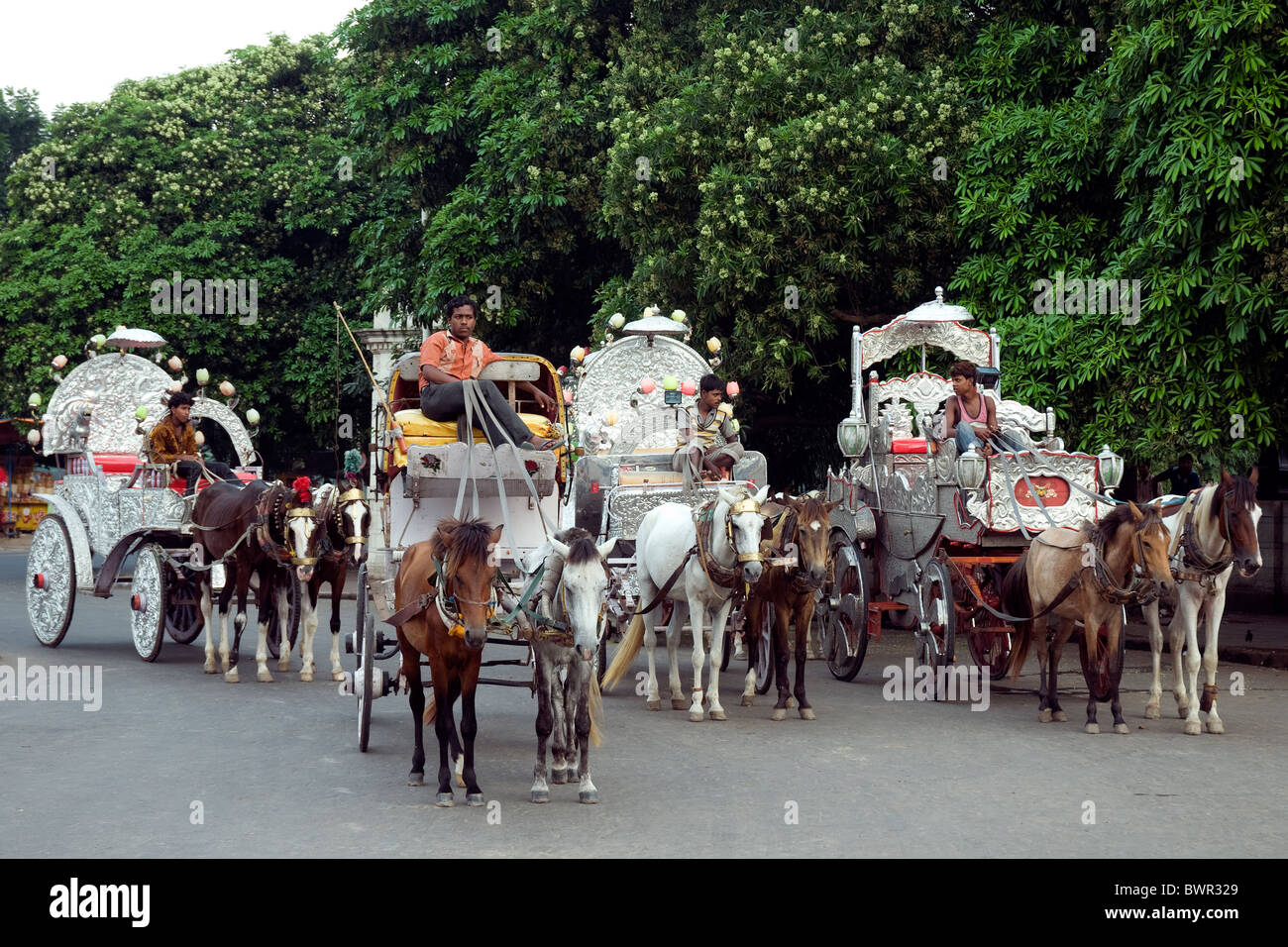 Richly ornamented horse carriages await visitors to Kolkata's Victoria Memorial - Stock Image