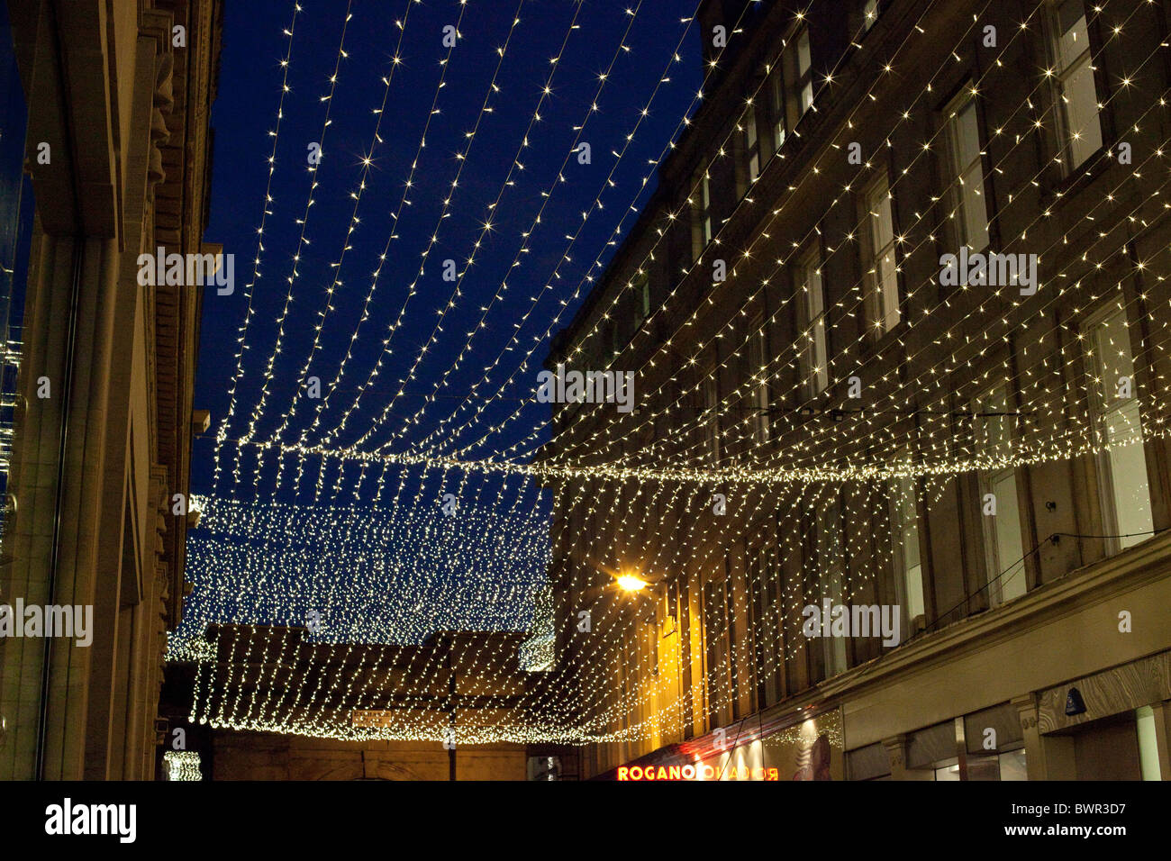 Merchant City Glasgow at night at Christmas - Stock Image