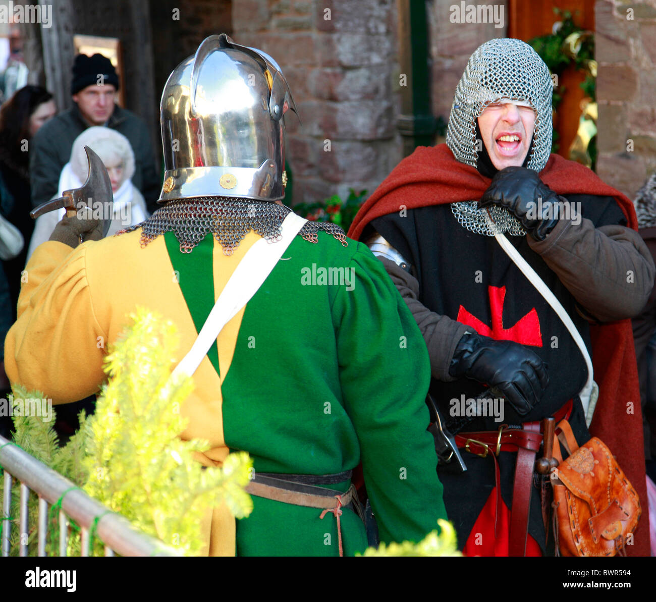 Two men dressed in medieval soldiers armour and clothing at a country fair in Ludlow,Shropshire - Stock Image