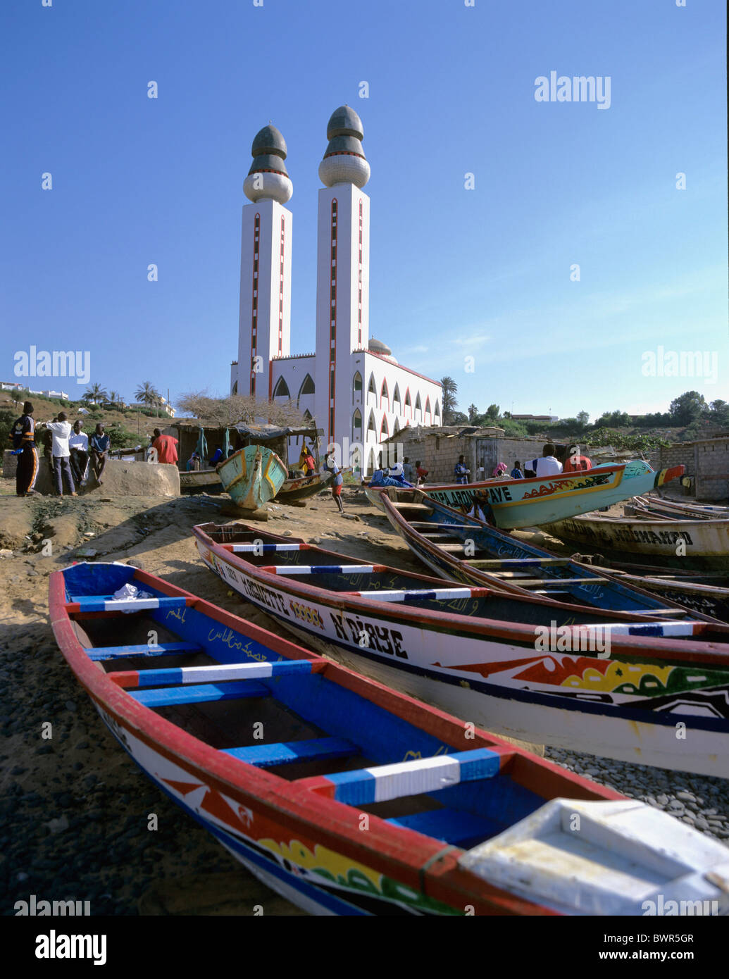 Senegal Dakar city mosque sea Ouakam African town Dakar modern Stock