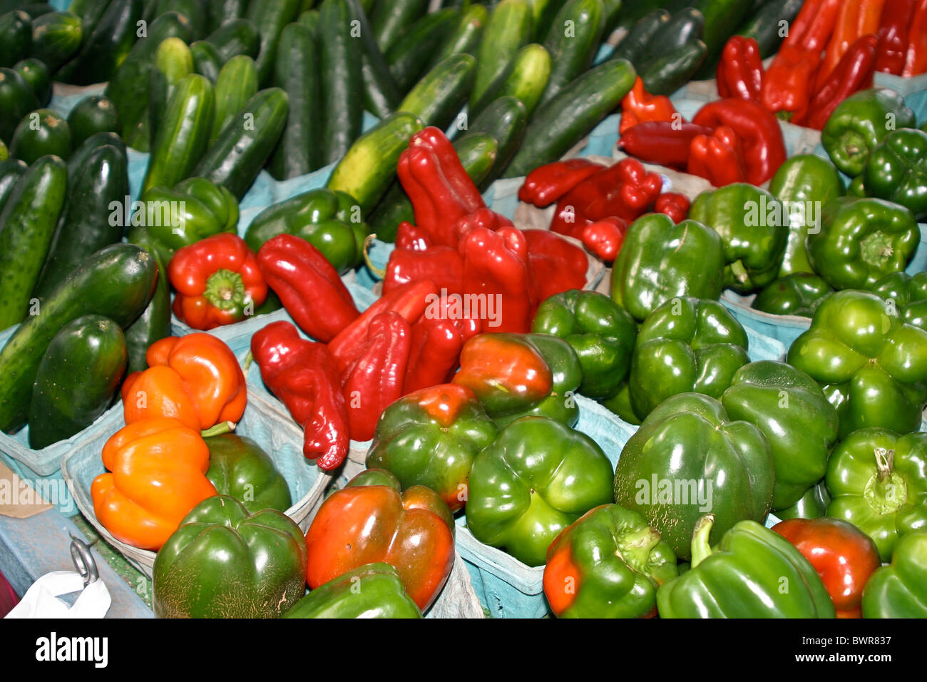 c fresh, green, ingredients, local, localvore, market, organic, peppers, s on display at roadside stand on Interstate Stock Photo