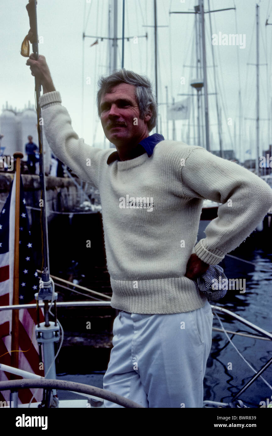 Ted Turner sailing in1983. - Stock Image