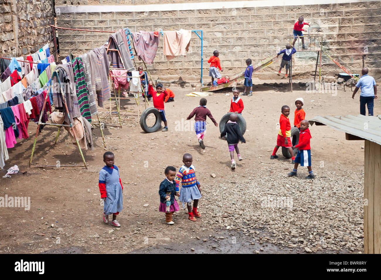 Daycare and headstart school playground, Maji Mazuri Children's Centre, Nairobi, Kenya Stock Photo