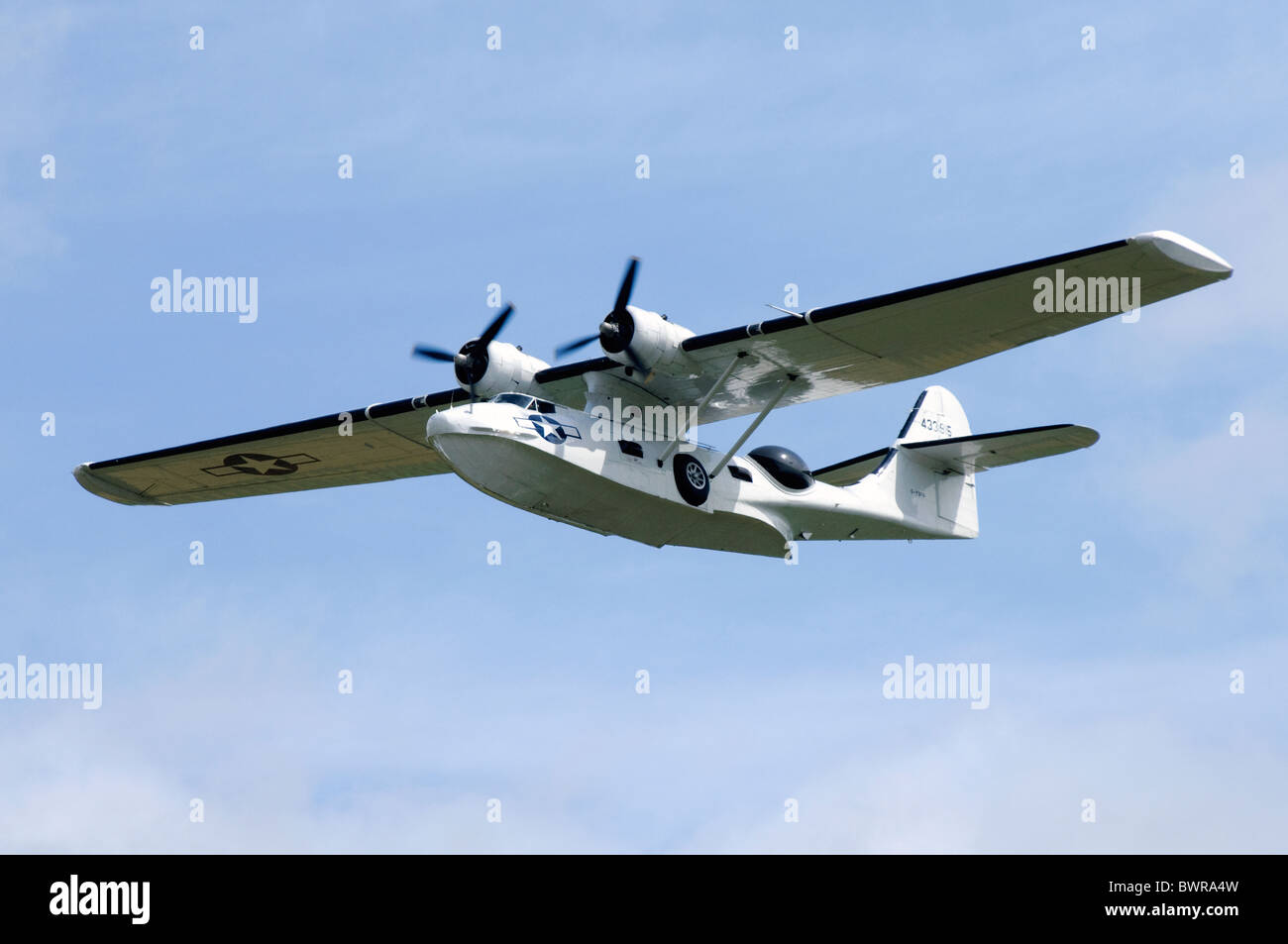 Canadian Vickers PBV-1A Canso A ( Canadian-built PBY Catalina ) climbing out after take off from RAF Fairford - Stock Image