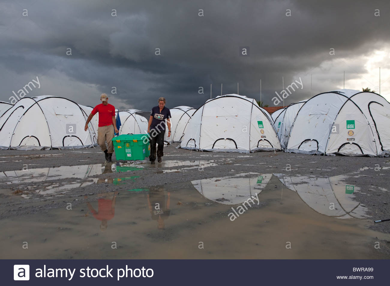 Shelterbox camp at Uniao Dos Palmares, Alegoas, Brazil - Stock Image