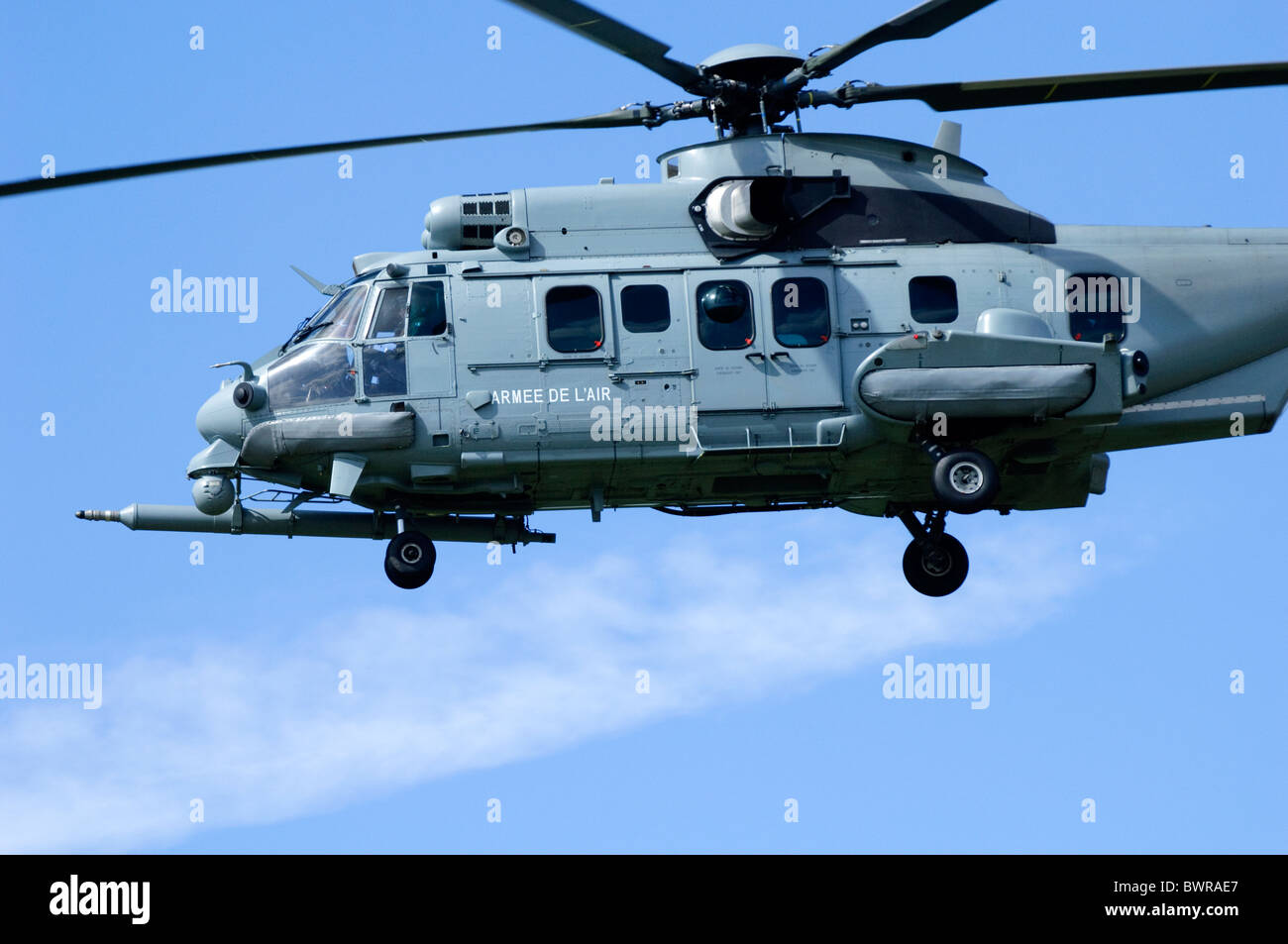 Eurocopter EC-725R2 Caracal operated by the French Air Force on approach for landing at RAF Fairford - Stock Image
