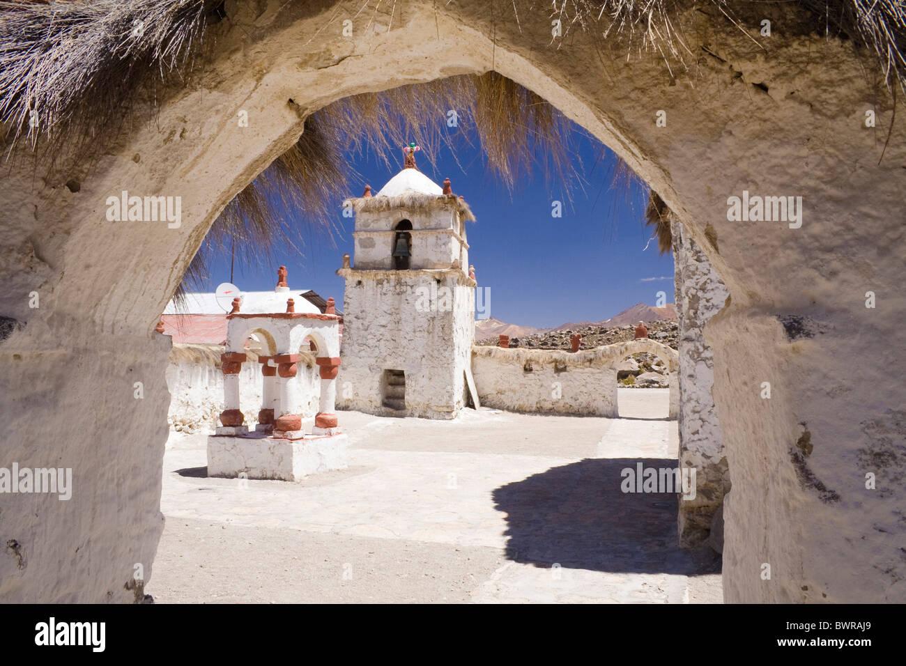 chile south america parinacota village adobe church traditional