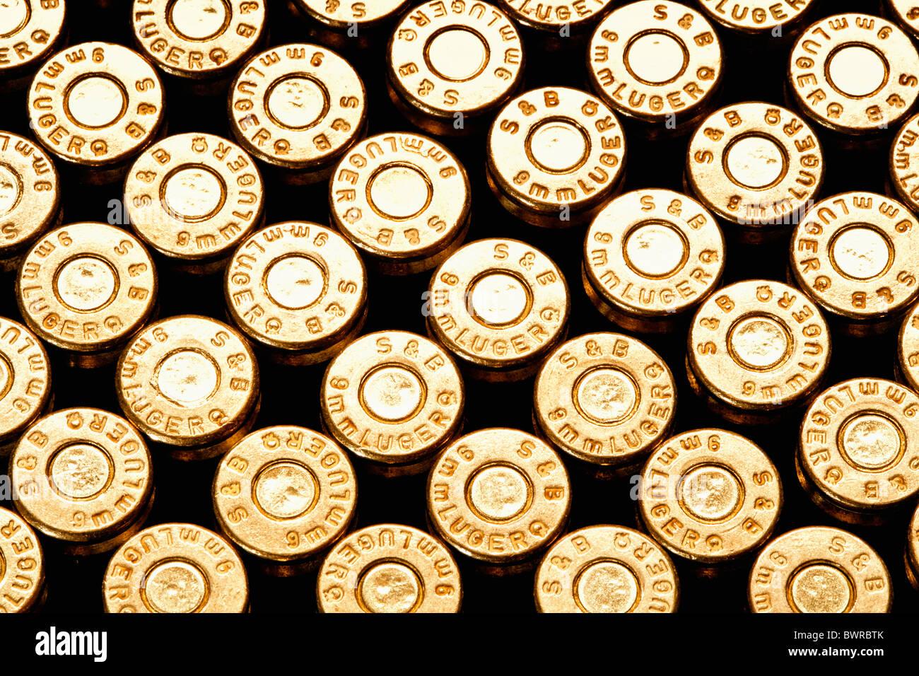 Abundance Aggression Ammunition Brass Bullet Bullets Caliber Close-up Concept Crime Danger Detail Enforcem - Stock Image