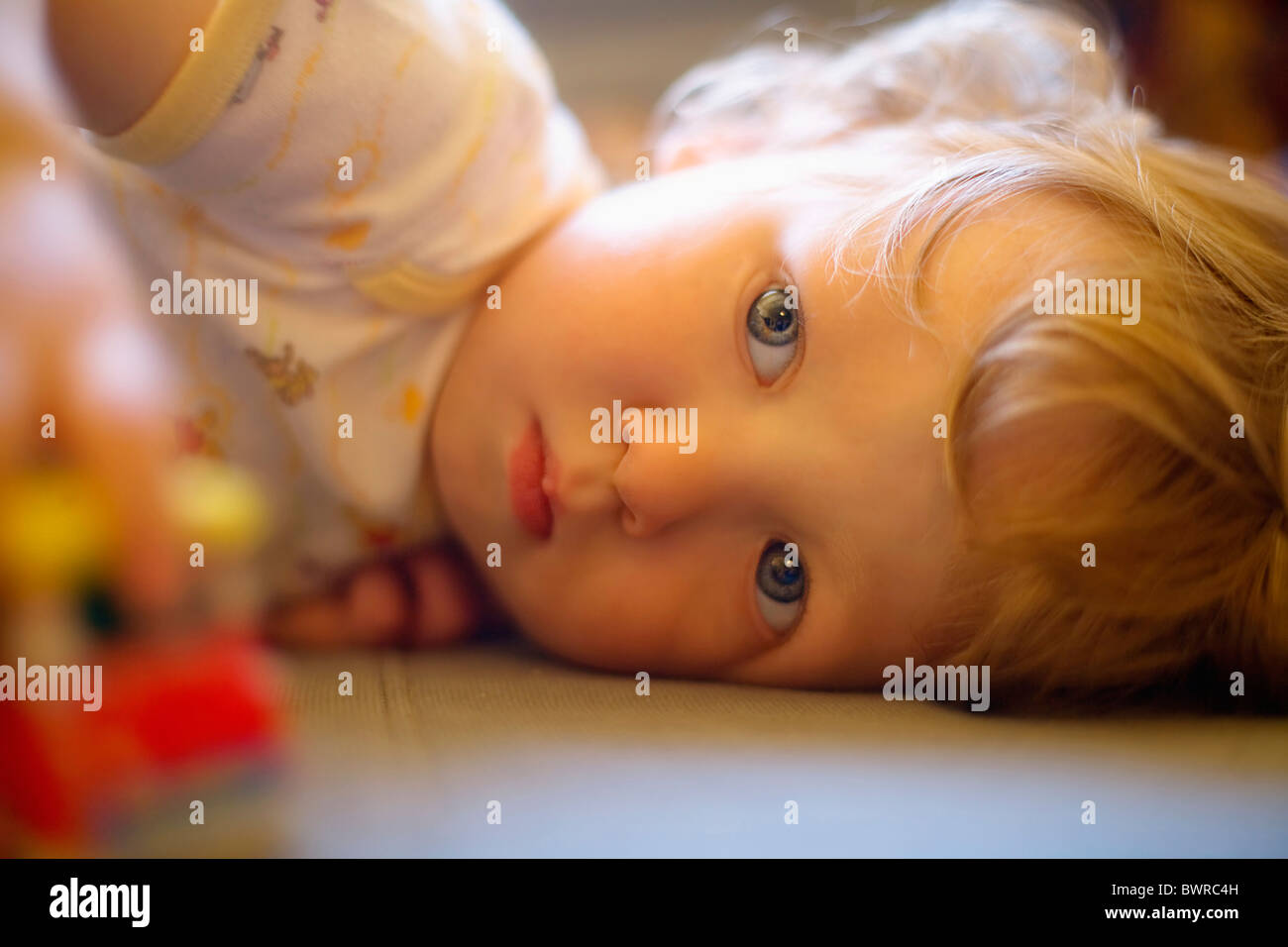 Boy 16 Months Playing Baby Boys Caucasian Child Childhood Children Contemporery Indoor Infant Infantile I - Stock Image
