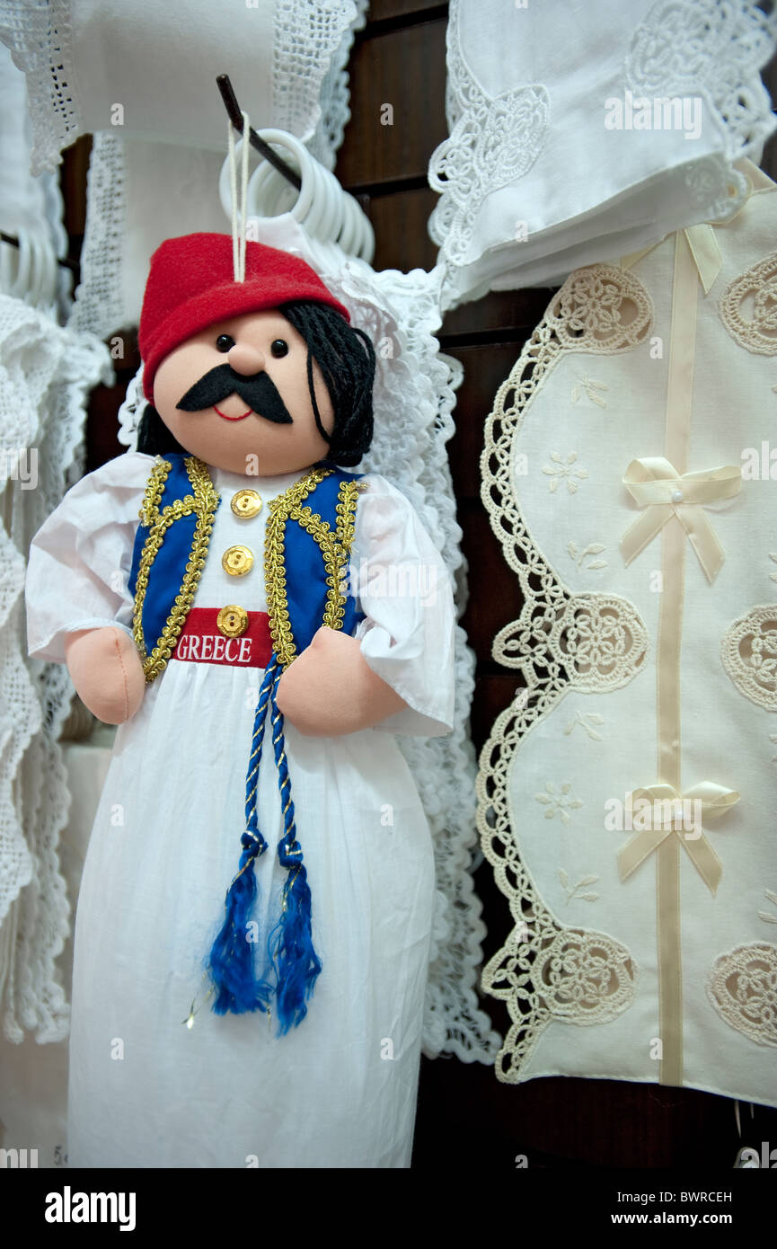 Souvenir doll and Lace, Kassiopi, Corfu, Greece - Stock Image