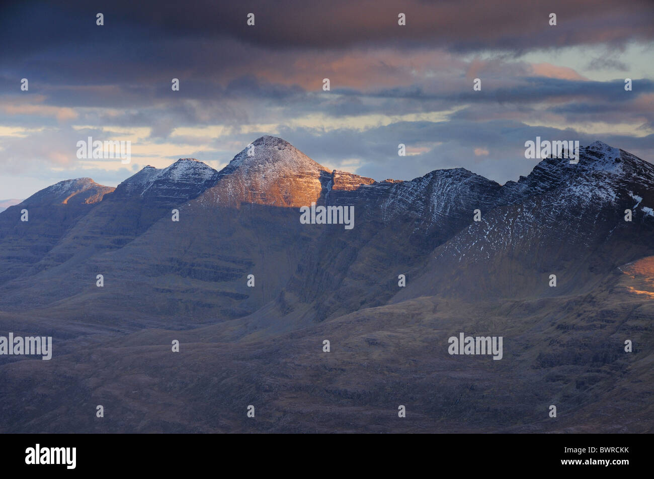 Dramatic late evening sunlight on Liathach, Torridon, Wester Ross, Scottish Highlands - Stock Image