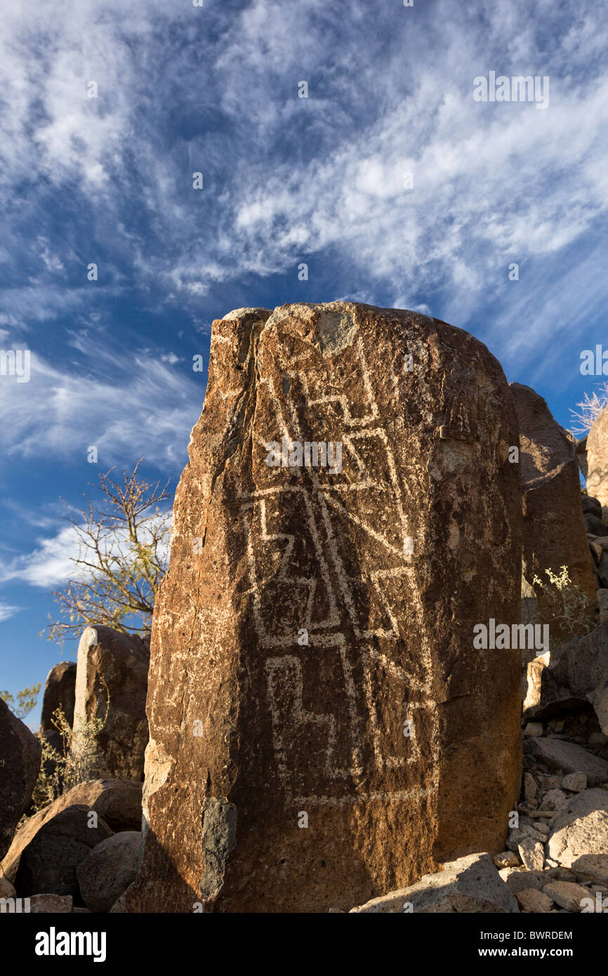 Petroglyph with geometric designs by the Native American Jornada Mogollon at the Three Rivers Petroglyph Site, New - Stock Image