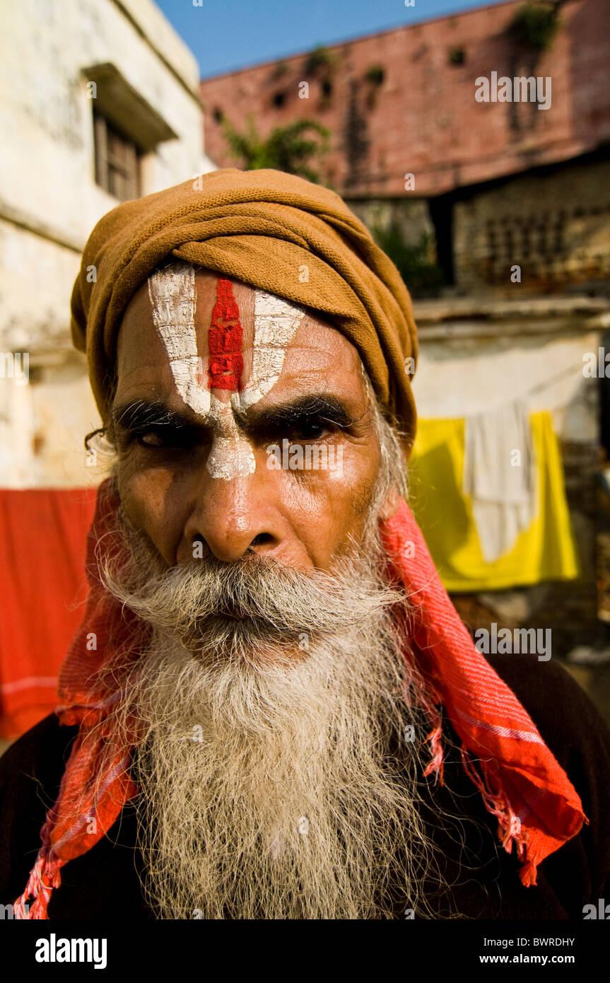 Portrait of an Indian Sadhu. - Stock Image