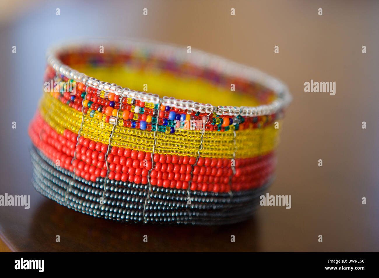 folk art beaded container, hand made, South American - Stock Image
