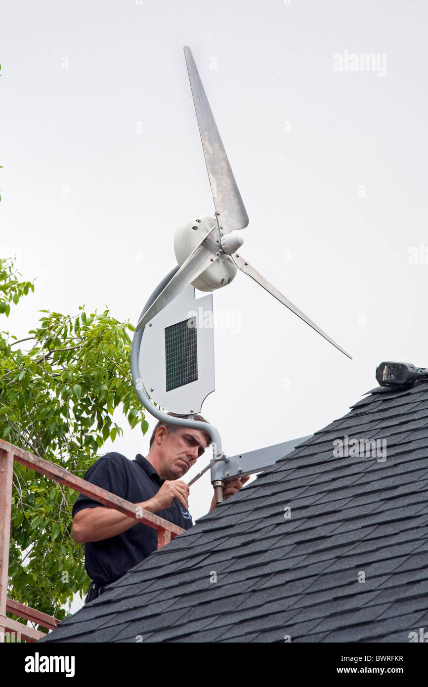 Installation of a residential wind turbine is filmed for an episode