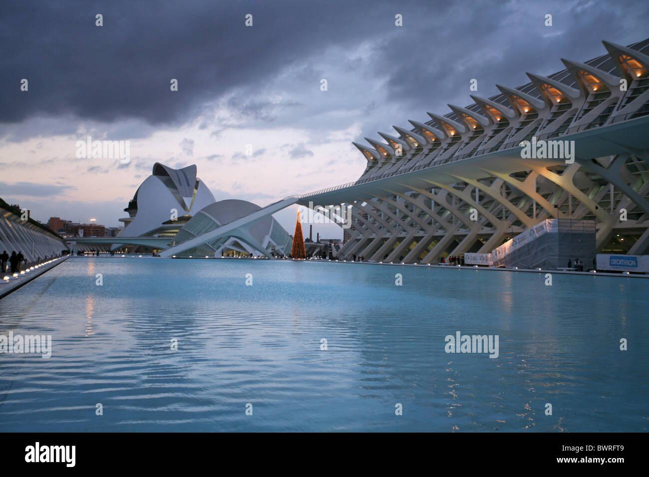 Spain Europe Valencia city Ciutat de les Arts i les Ciències Ciudad de las Artes y las Ciencias City of Arts - Stock Image