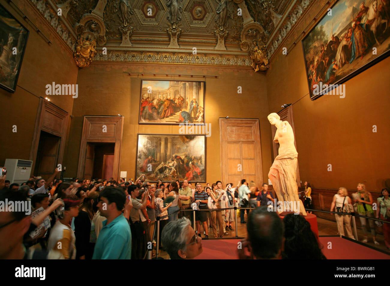 Venus de Milo Louvre museum Paris France Europe Indoor Inside ancient Greek statue sculpture art culture ol - Stock Image