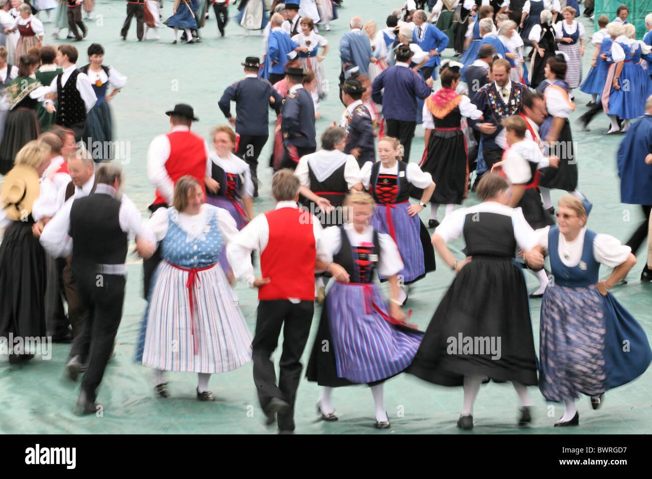 Switzerland Europe Swiss folk music dance dancing Bernese Oberland Canton Berne Bern Interlaken Unspunnen fes - Stock Image