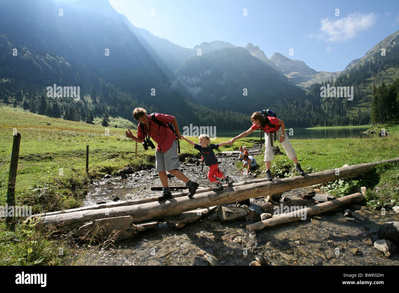 Switzerland Europe Voralpsee town Grabs canton St. Gallen Outdoor Outdoors Outside mountain mountains alps - Stock Image