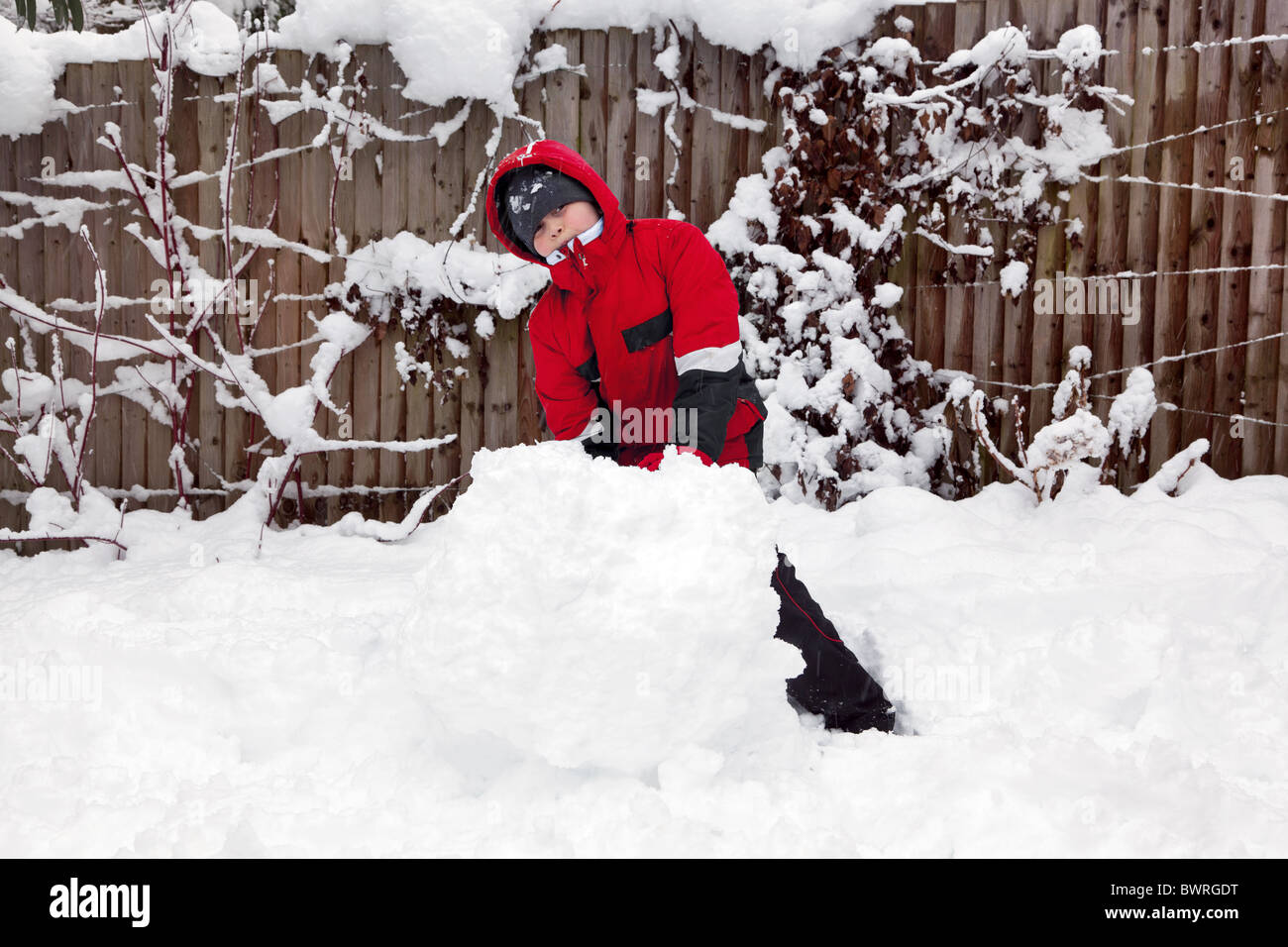 A young boy playing in the snow rolling a snowball to make a snowman. - Stock Image