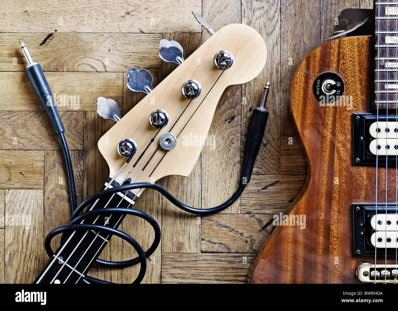 guitar and bass guitar - Stock Image