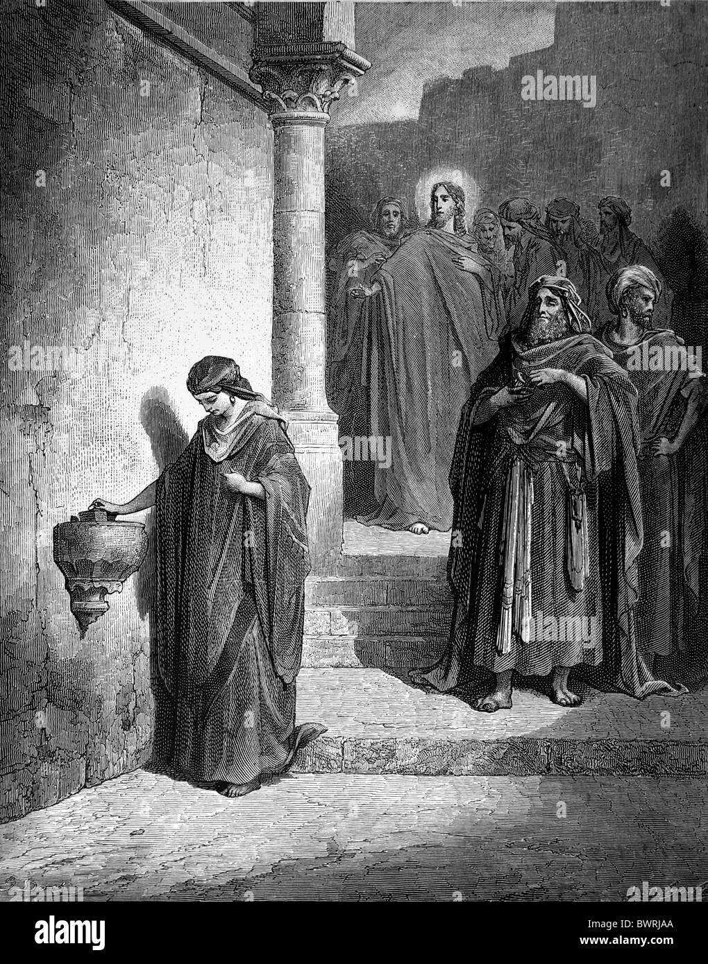 Gustave Doré; The Parable of the Widow's Mite; Black and White Engraving - Stock Image