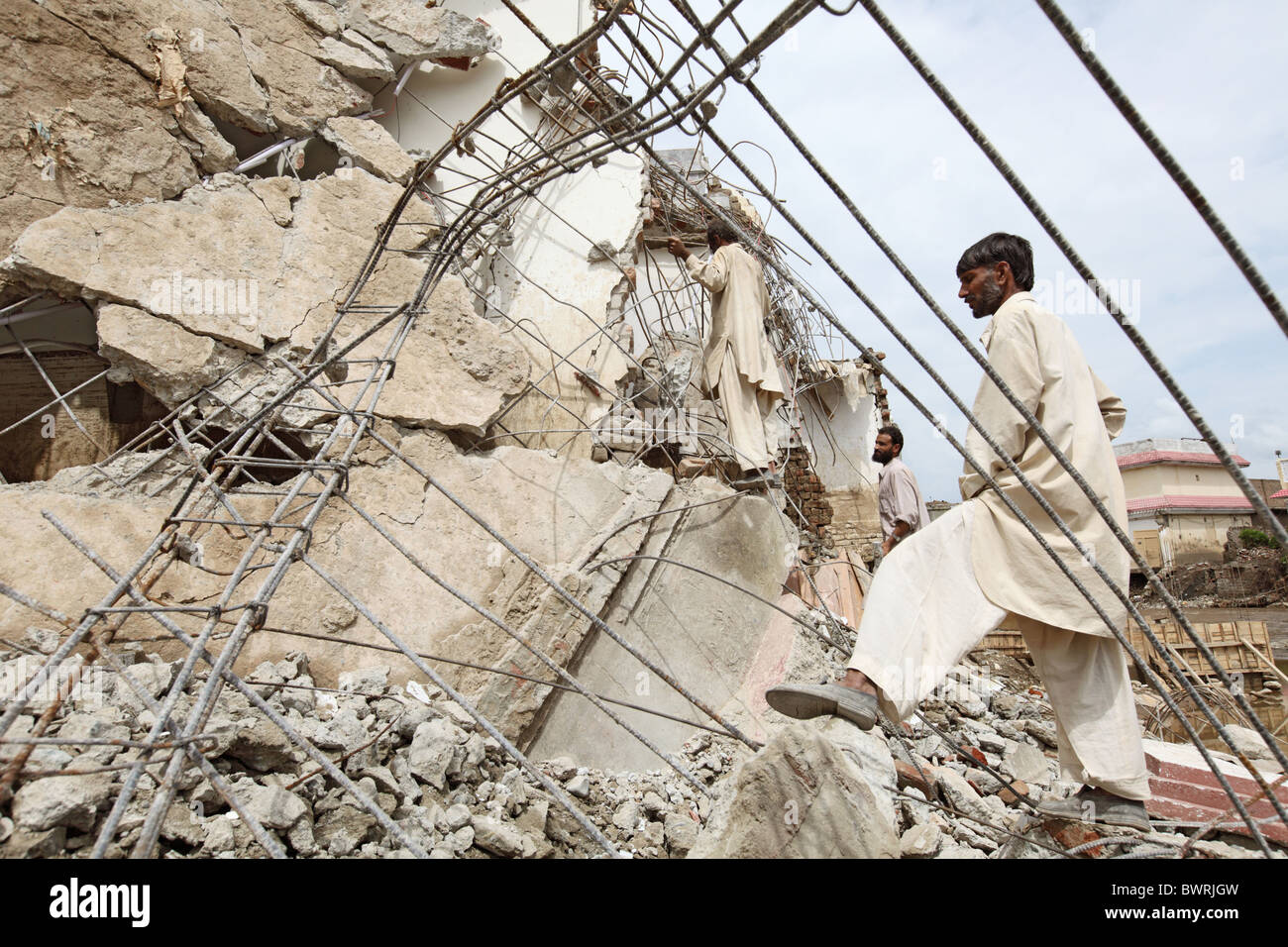 Destroyed house on the bank of Swat River, Mingora, Pakistan Stock Photo