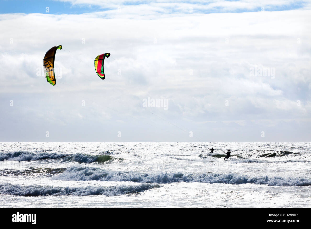 Kitesurfing at Machrihanish on the Kintyre Peninsula, Argyll & Bute, Scotland - Stock Image