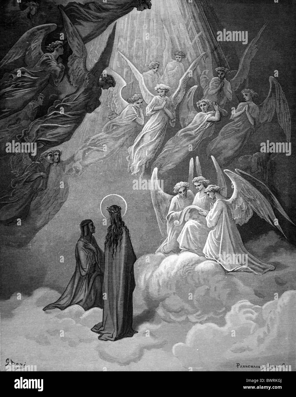 Gustave Doré; The Singing of the Blessed in the Sixth Heaven from Dante Alighieri's Divine Comedy; Black - Stock Image