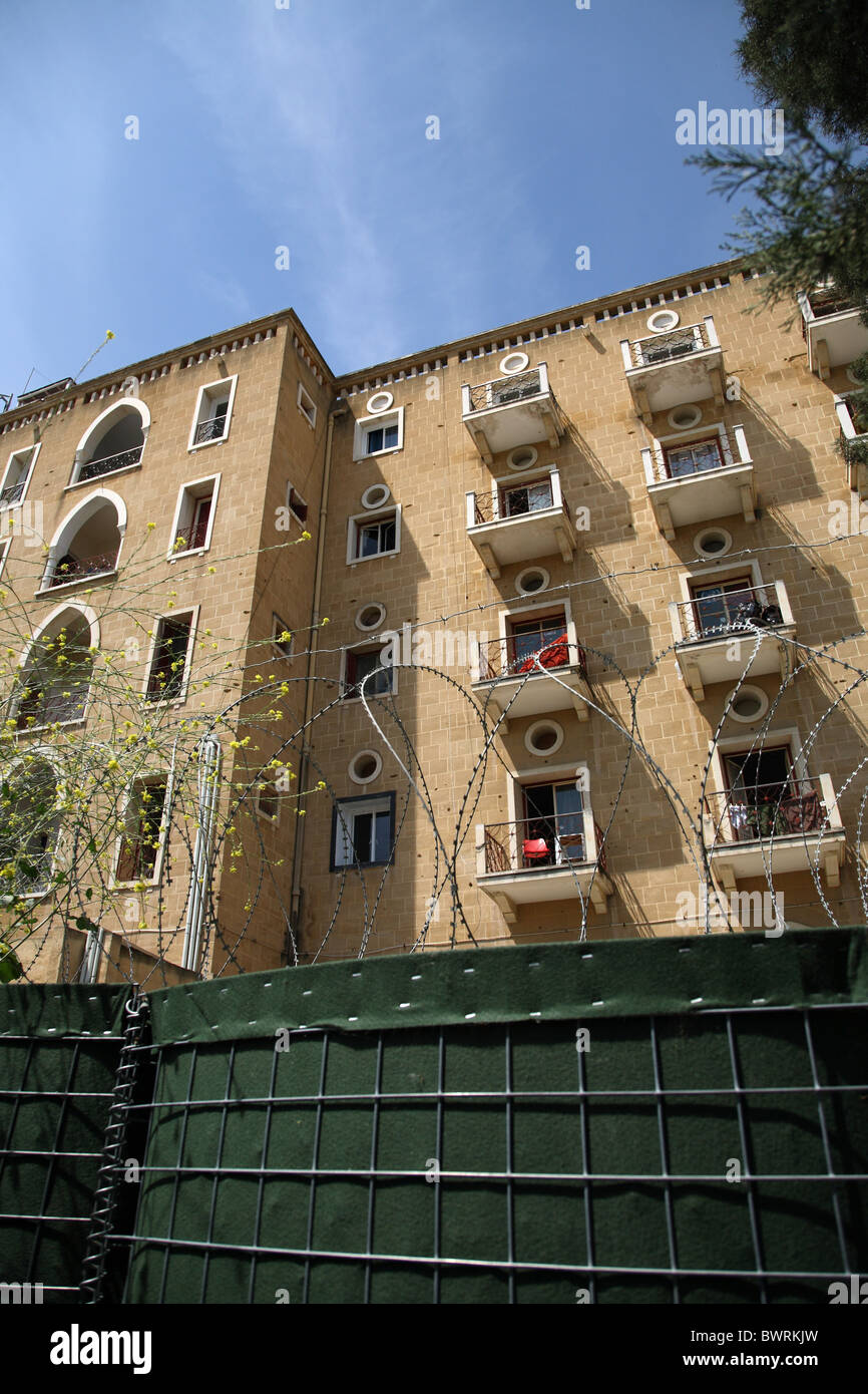 Formerly luxury hotel Ledra Palace, now headquarters of the UNO Protective Forces UNFICYP, Nicosia, Cyprus - Stock Image