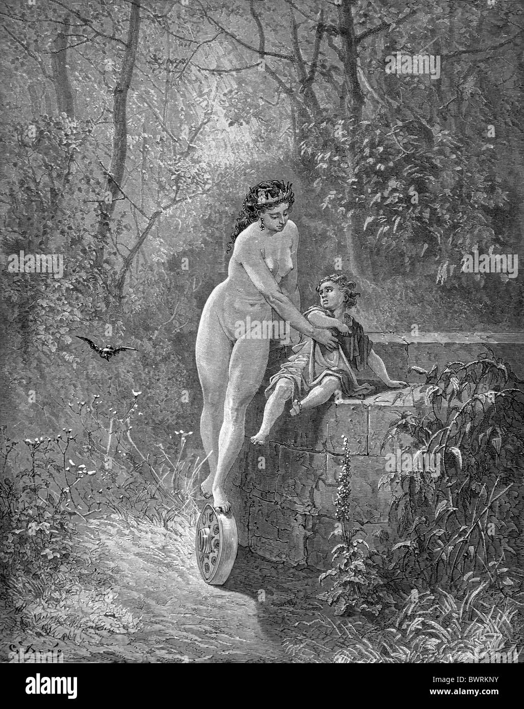 Gustave Doré; The Goddess Fortune saves the Little Child from the Well, from Jean de la Fontaine's Fables - Stock Image