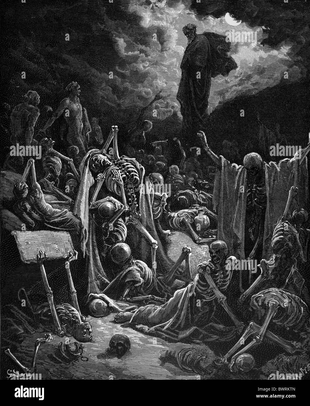 Gustave Doré; The Vision of the Valley of Dry Bones (Ezekiel Chap 37); Black and White Engraving - Stock Image