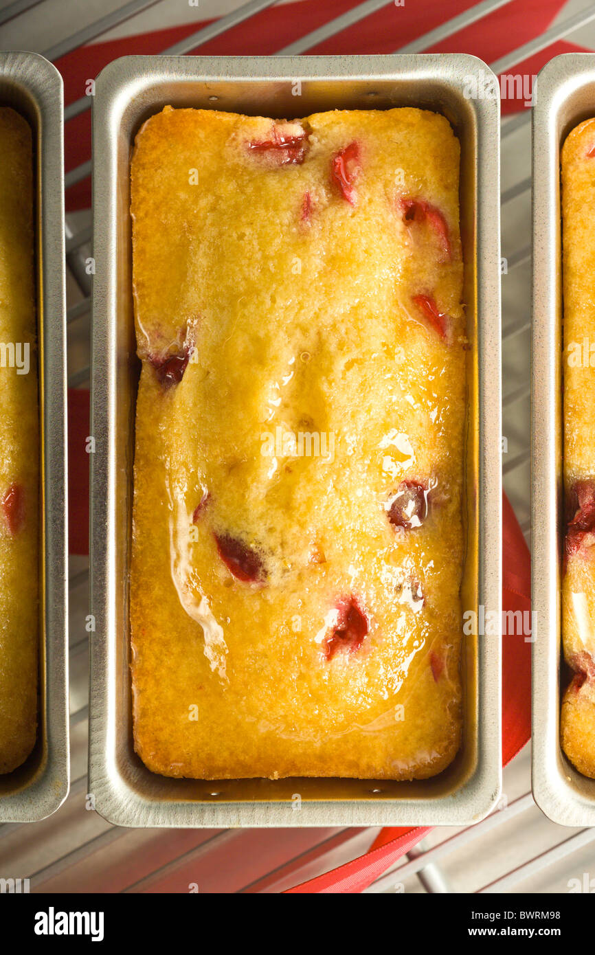 Glazed Lemon-Cranberry Mini Tea Breads. Presented in their cooking mold on a cooling rack. Stock Photo