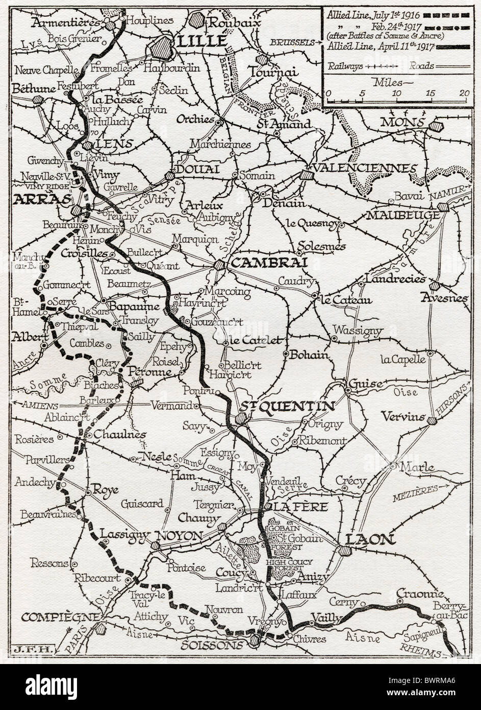 The Somme and the Ancre. Map shows lines occupied by the Allies from July 1916 to April 11, 1917. - Stock Image